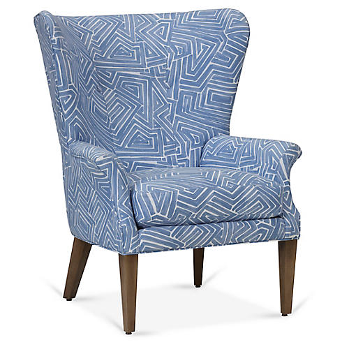 Emilia Wingback Chair, Royal Blue
