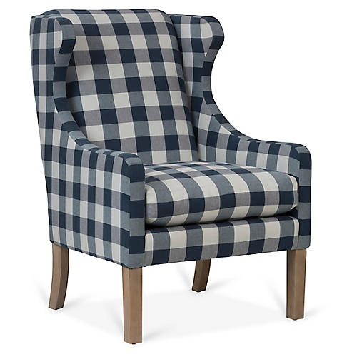 Bryton Wingback Chair, Navy/White