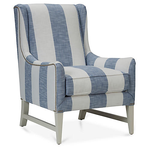 Miller Wingback Chair, Azure Blue