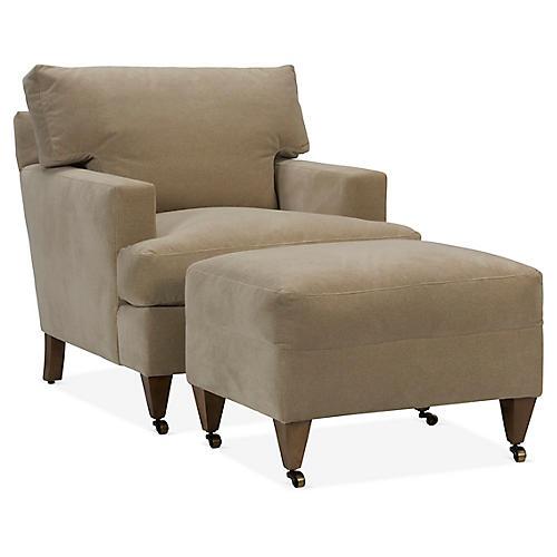 Tatum Club Chair & Ottoman Set, Natural