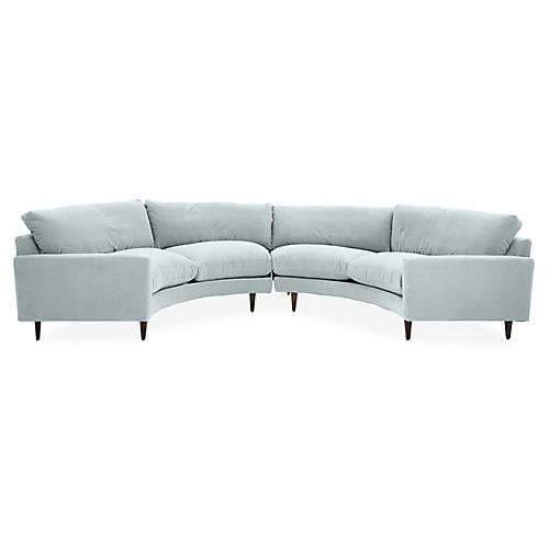 Oslo Curved Sectional, Seafoam Crypton Velvet