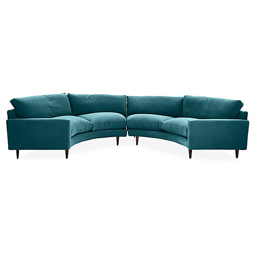 Oslo Curved Sectional, Peacock Crypton Velvet