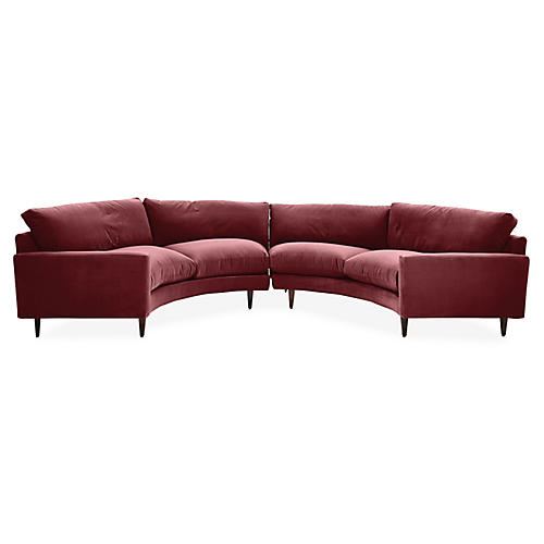 Oslo Curved Sectional, Berry Velvet