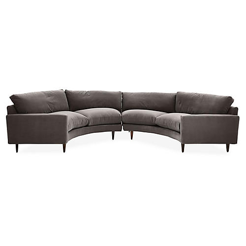 Oslo Curved Sectional, Charcoal Velvet