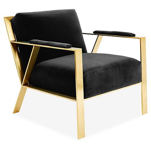 Bergen Accent Chair, Black Velvet