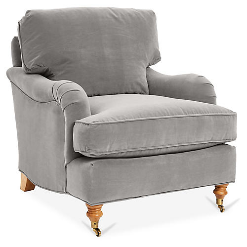 Brooke Club Chair, Gray Velvet