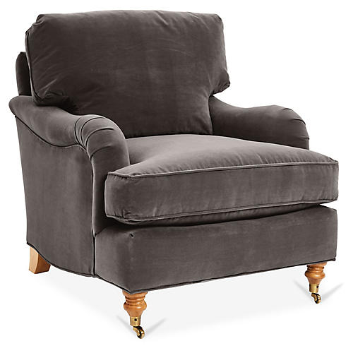 Brooke Club Chair, Charcoal Velvet
