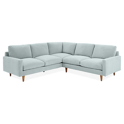 Oslo Left-Facing Sectional, Seafoam Velvet
