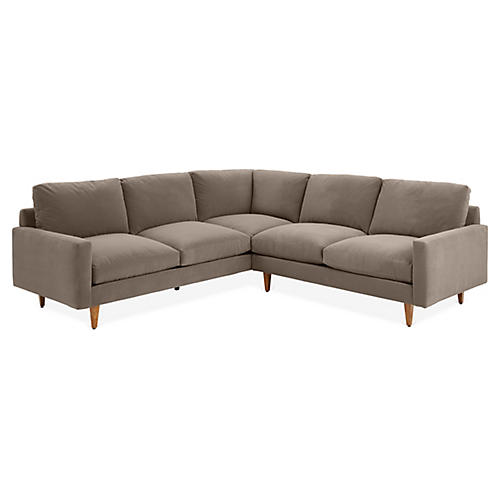 Onslow Left-Facing Sectional, Café Crypton Velvet