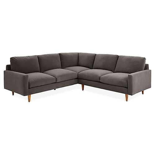 Oslo Left-Facing Sectional, Charcoal Velvet