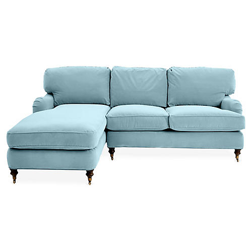 Brooke Left-Facing Sectional, Light Blue Velvet
