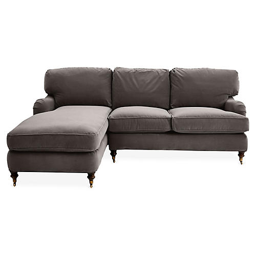 Brooke Left-Facing Sectional, Charcoal Velvet