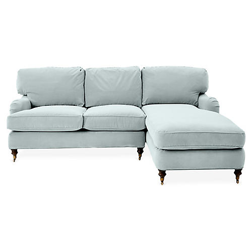 Brooke Right-Facing Sectional, Seafoam Velvet