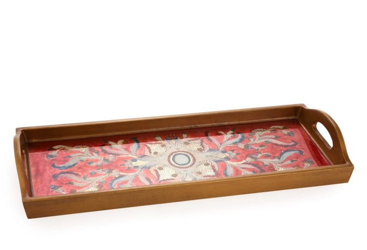 "20"" Long Tray w/ Handles, Gemstone Red"