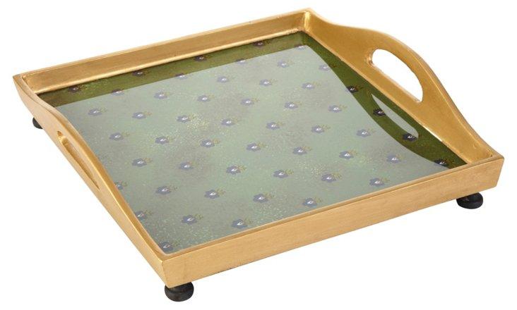 "12"" Square Tray w/ Ball Feet, Green"