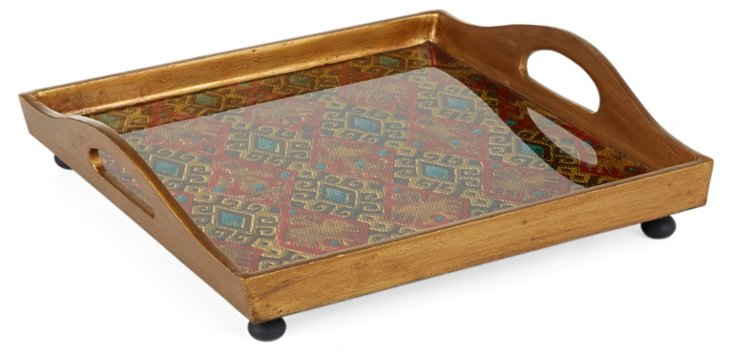 "12"" Square Glass Tray, Textura"