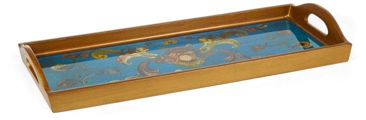 "20"" Glass Tray w/ Handles, Nouveau Blue"
