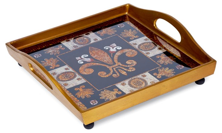 "12"" Square Glass Tray, Black"
