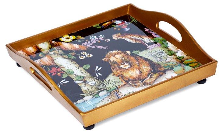 """12"""" Square Glass Tray, Jungle"""