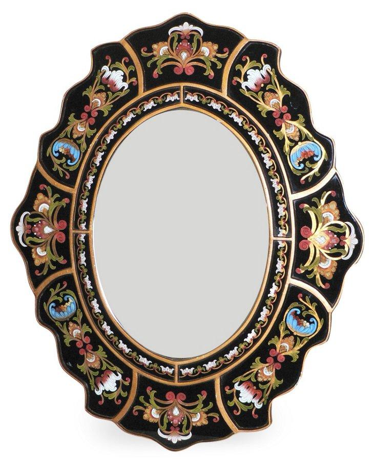 Scalloped Wall Mirror, Black