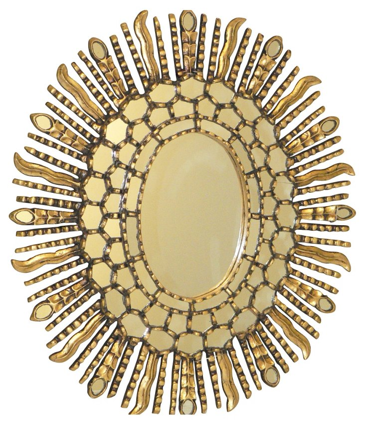 Oval Sunburst Wall Mirror, Gold