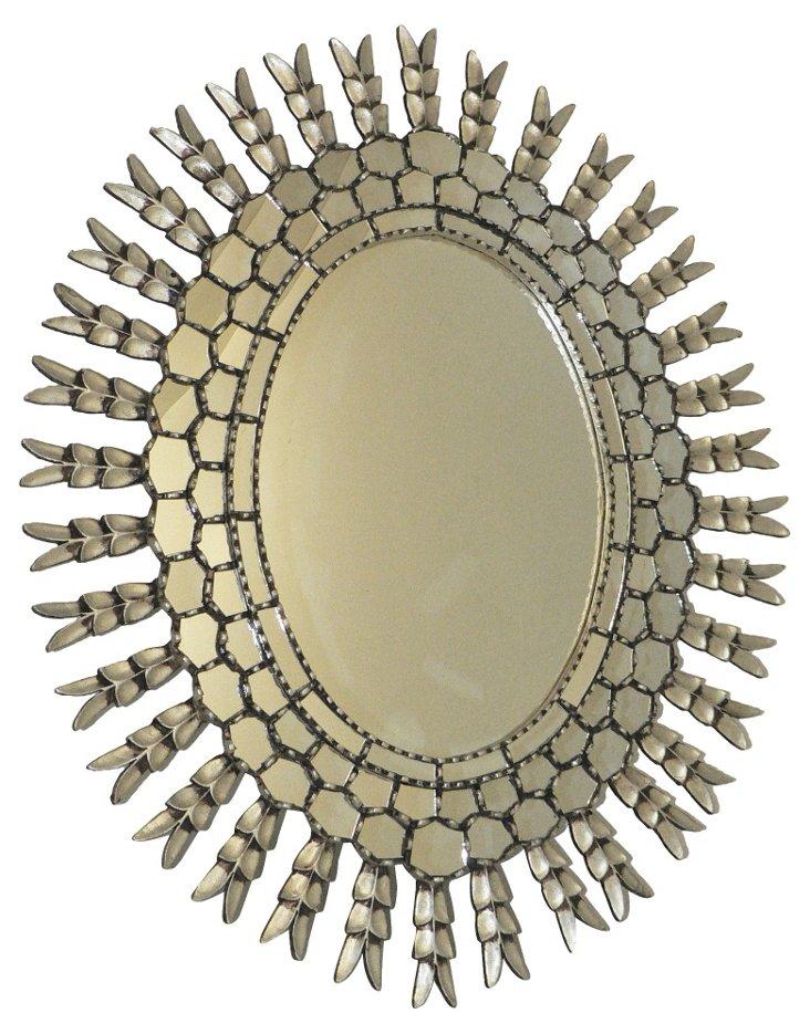 Oval Sunburst Oversize Mirror, Silver
