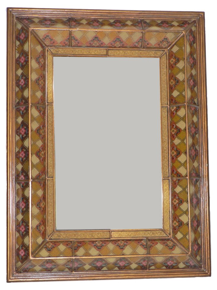 Triple Angular Oversize Mirror, Wheat