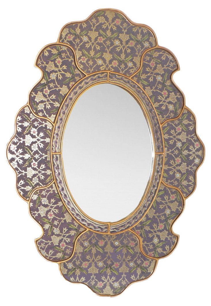 Scalloped Wall Mirror, Plum