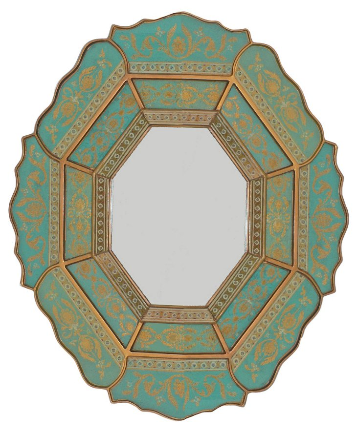 Scalloped Wall Mirror, Turquoise