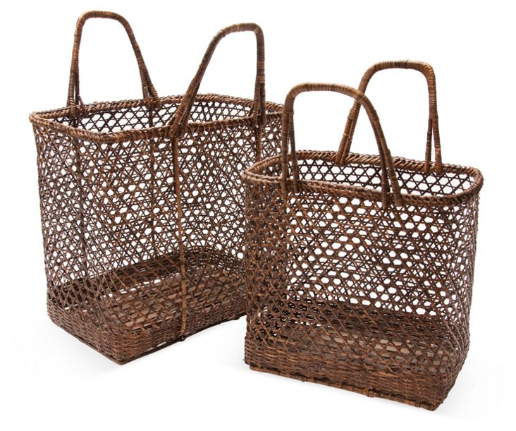 Bamboo Baskets, Set of 2