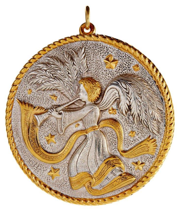"3"" Silver w/ 18kt-Gold Angel Ornament"