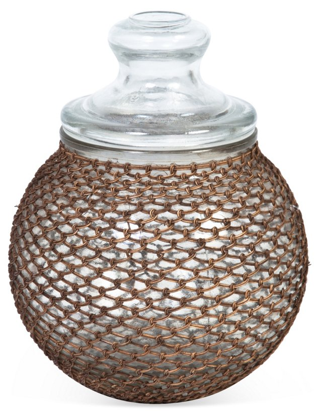 Canister w/ Rattan Mesh