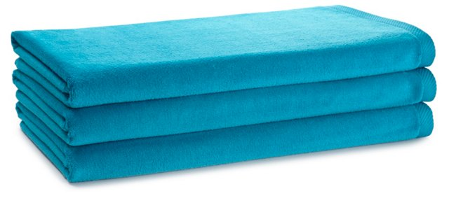 S/3 Beach Towels, Turquoise