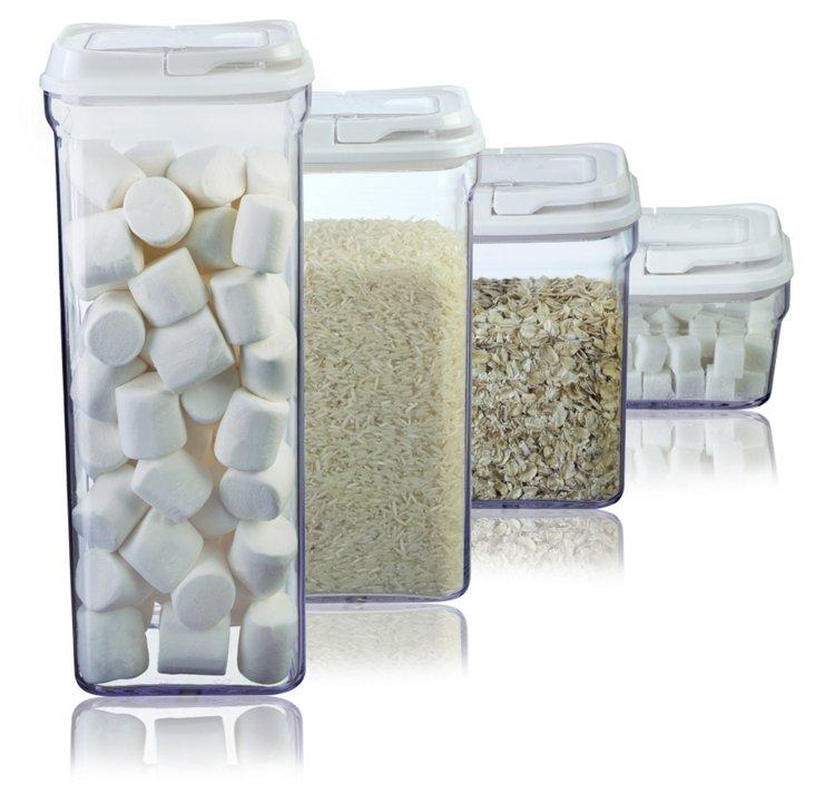 4-Pc Food Storage Set, White