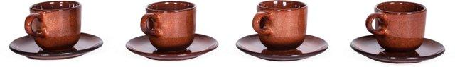 Heath Coffee Cups w/ Saucers, Set of 4