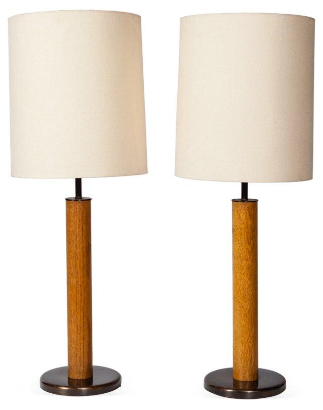 Walter Von Nessen Table Lamps, Pair