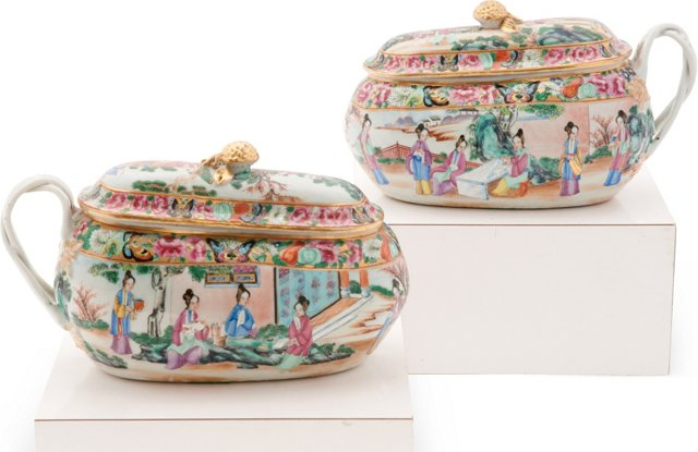Famille Rose Chamber Pots, Pair