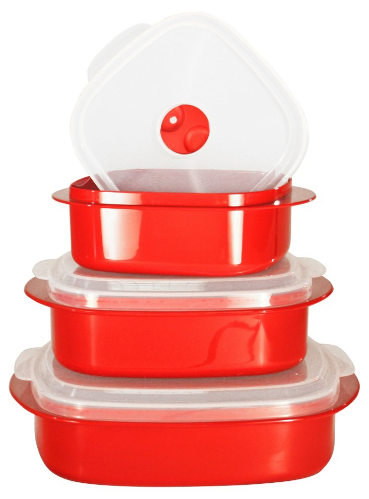 6-Pc Microwave Cookware Set, Red