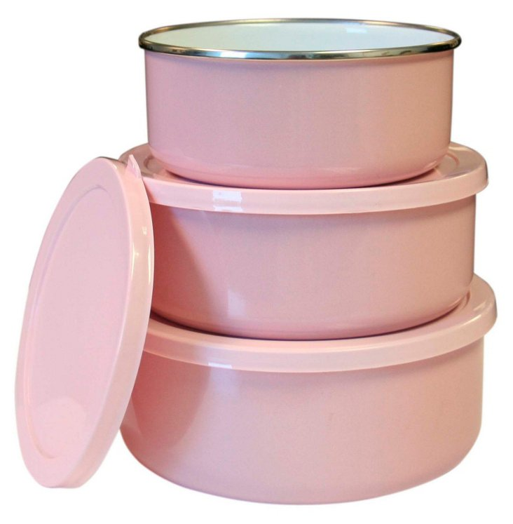 S/6 Assorted Steel Bowls Set, Pink