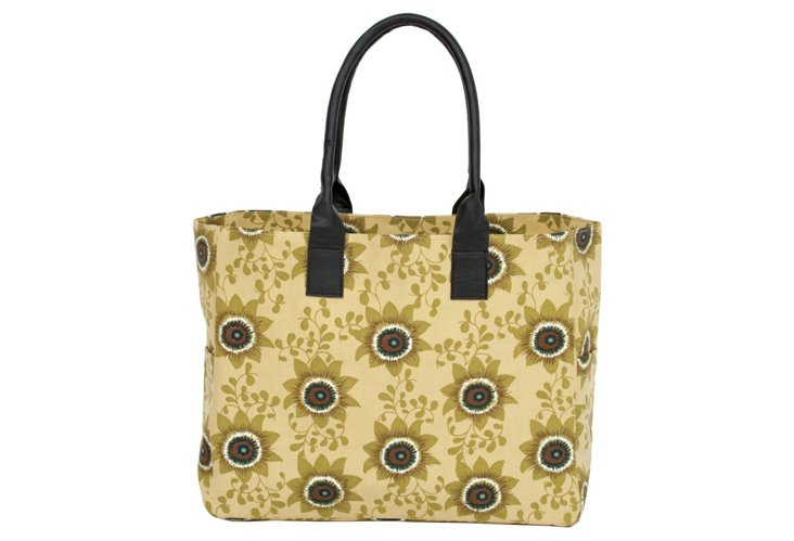 Carryall Tote, Tan Passion Flower