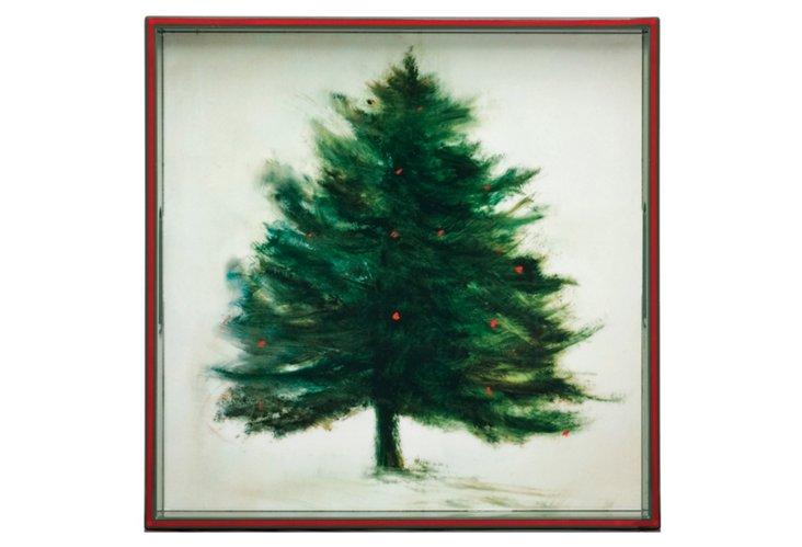 "Oh Christmas Tree Square Tray, 15"""
