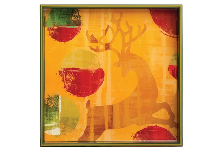 Dancing Reindeer Square Tray, 15""