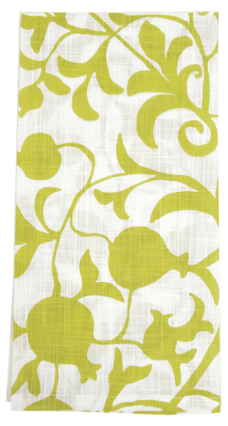 S/6 Quince Kitchen Towels, Green
