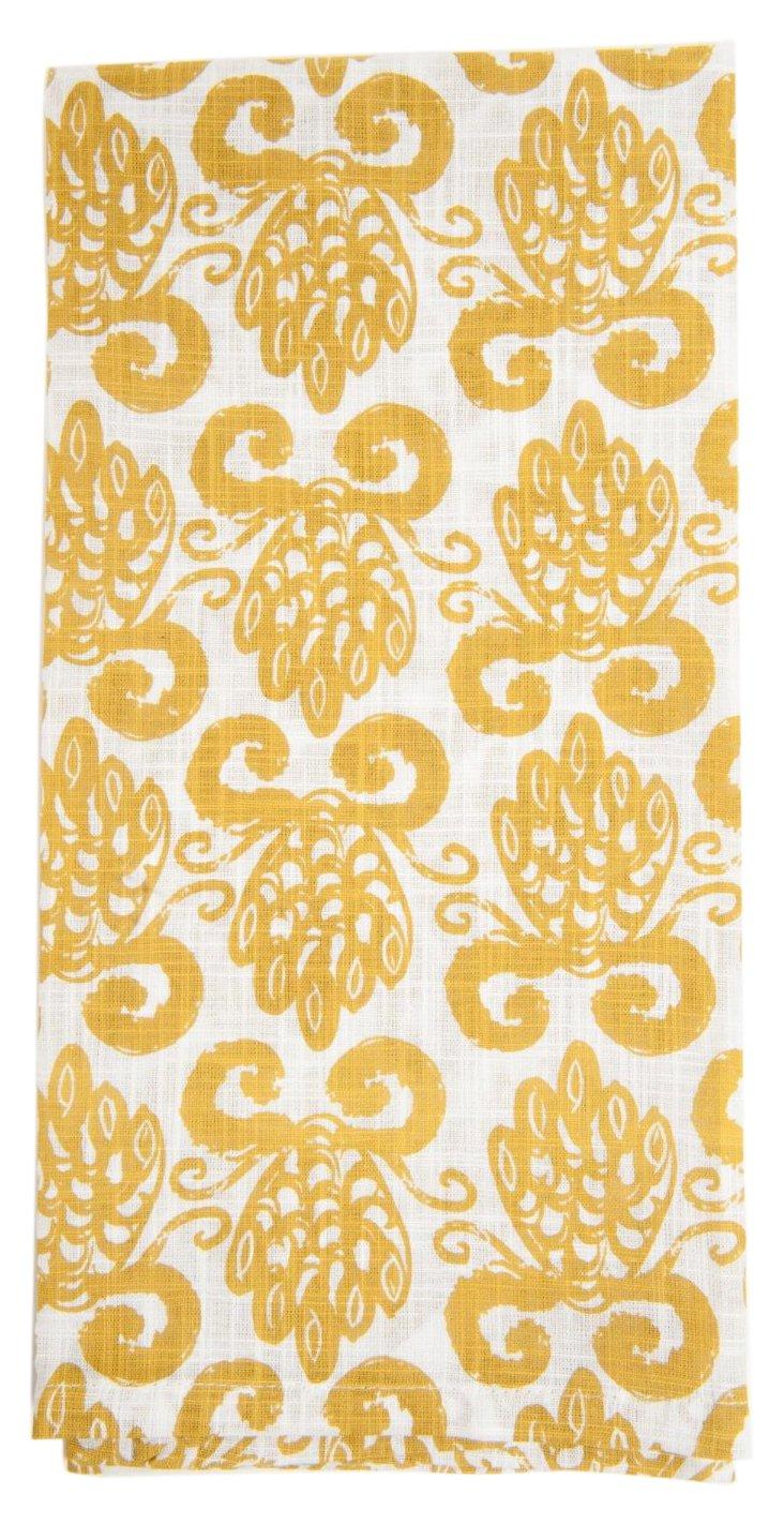 S/6 Pineapple Kitchen Towels, Tan