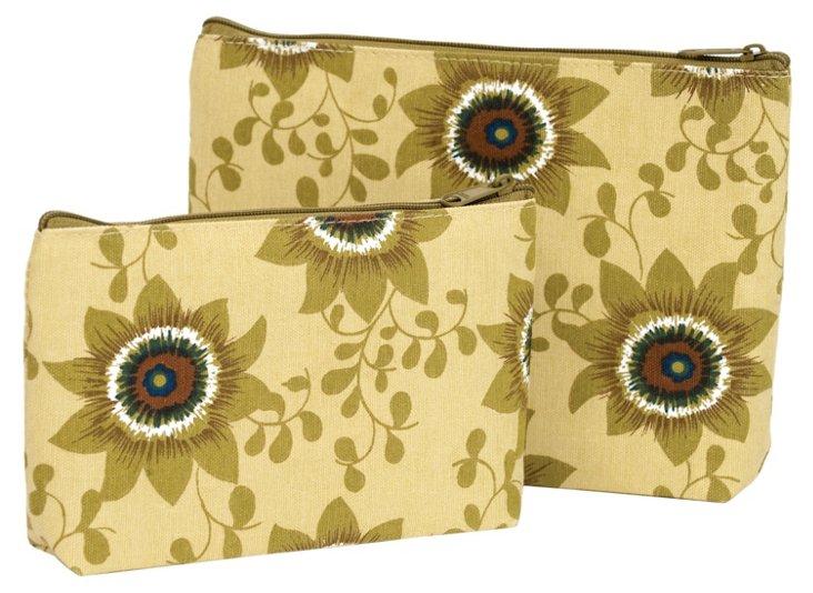 S/2 Passionflower Zip Bags, Tan
