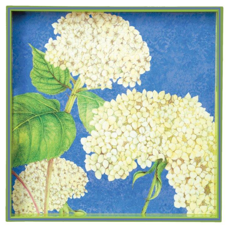 """15"""" Square Tray, White Hydrangea"""