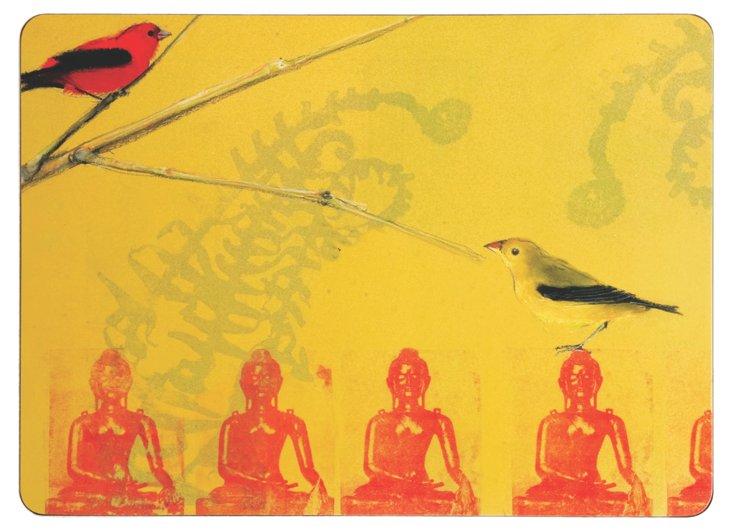 S/4 Warbler On Buddha Place Mats