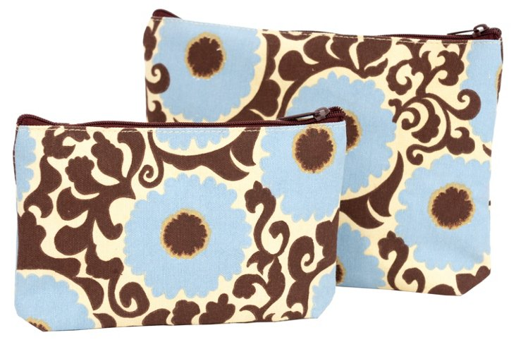 S/2 Rosette Zip Bags, Blue/Brown