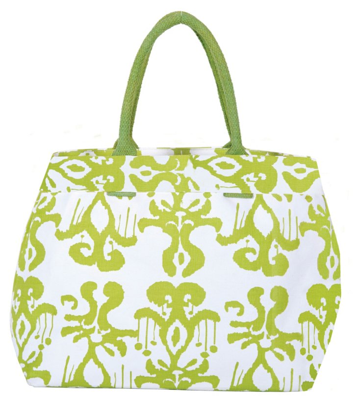 Persia City Tote, Lime/White