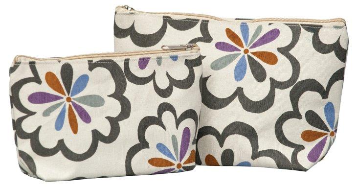 S/2 Pom-Pom Zip Bag, Gray/White